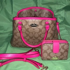 Coach purse with strap and wallet
